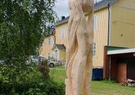 "Skulptūra ""For Gyongi"". Egle. h-3.5m. Su Saulium Alejūnu. 2013,birzelio 24-29d.,Ilomantsi, Suomija"