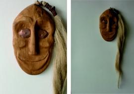 Dekoratyvinė kaukė (Senekų genties kaukės interpretacija). Ąžuolas. h-22cm.